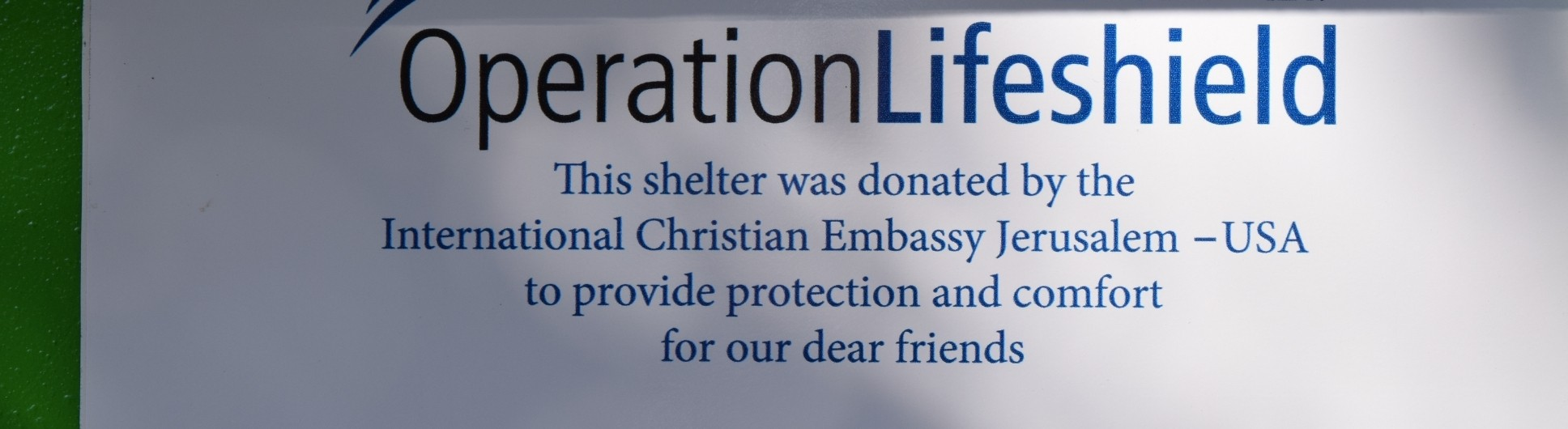 ICEJ: Bomb shelter plaque